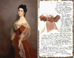 Stumm, Baroness Hugo von, née Ludovica von Rauch: Letter from de László illustrating his choice of dress for the portrait 6542